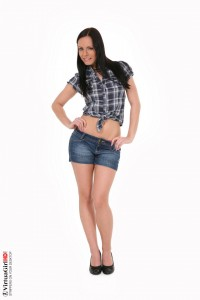 Denim shorts : Kari striptease